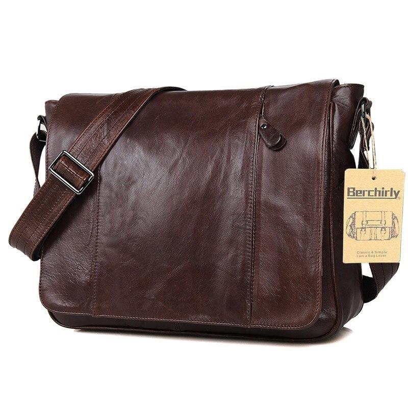 Vintage 100% di Garanzia Reale Della Pelle del Cuoio Genuino degli uomini  della Pelle Bovina borse messenger big capacity breifcases 14 pollice borse  borse ... 7e27b741ea7