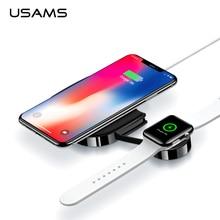 USAMS 2 в 1 Беспроводное зарядное устройство для iPhone X XR 8 Быстрая зарядка беспроводное зарядное устройство для Apple Watch Series 1 2 3 4 и мобильных телефонов