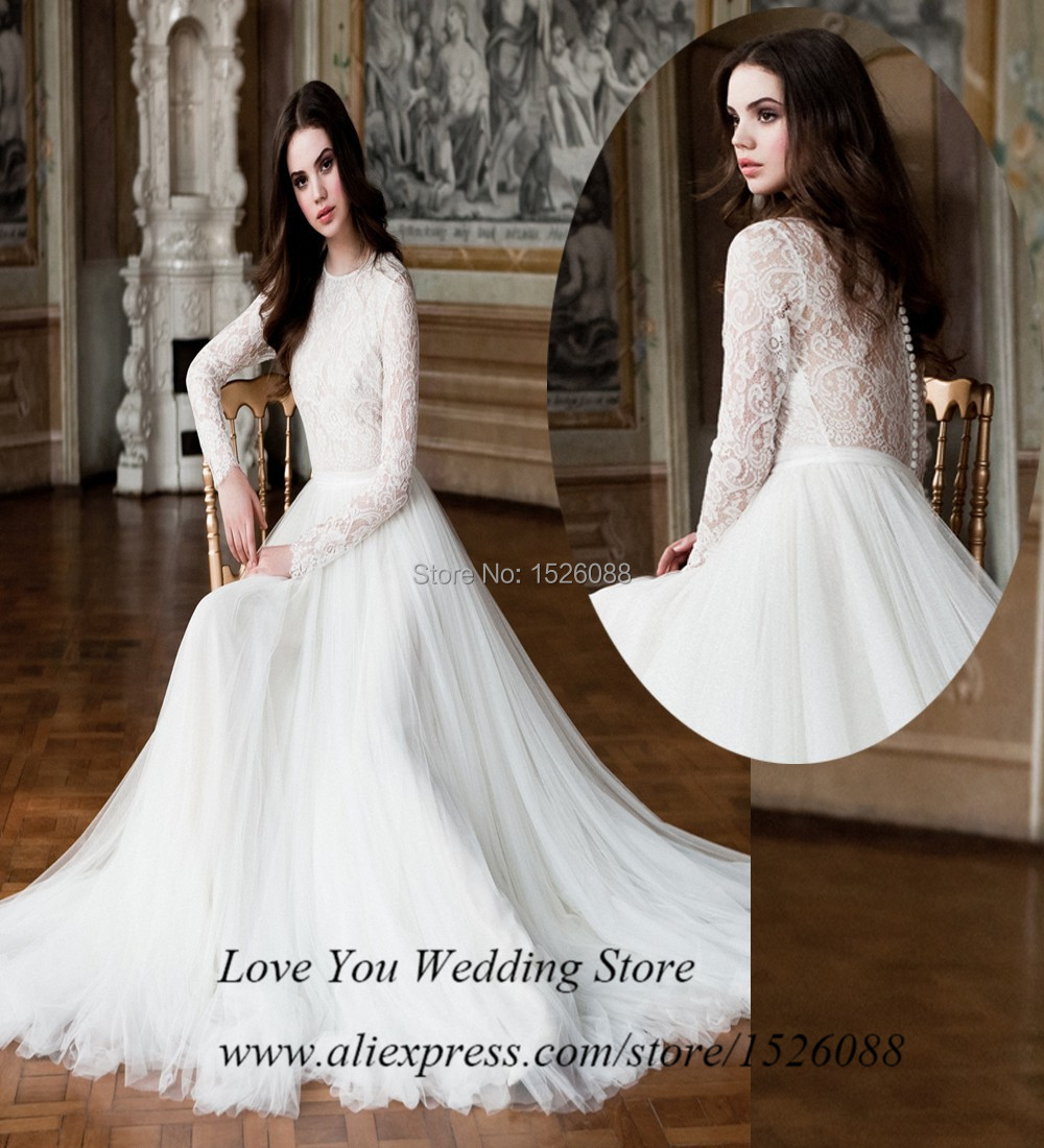 2015 New Vintage Long Sleeve Lace Wedding Dress Russian Style Tulle ...
