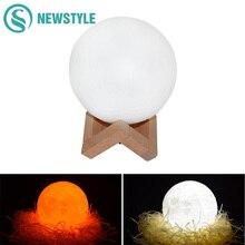 Criativo 3D Impressão Lua LEVOU Luz Noturna Recarregável Toque Interruptor Da Luz Da Noite Quarto Atmosfera Noite Lâmpada para Decoração de Casa