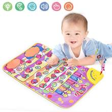 Baby Music Carpet Cartoon Baby Music Play Mat Folding Alphabet Carpet Music Blanket Kids Early Learning Game Toy Children Gift(China)