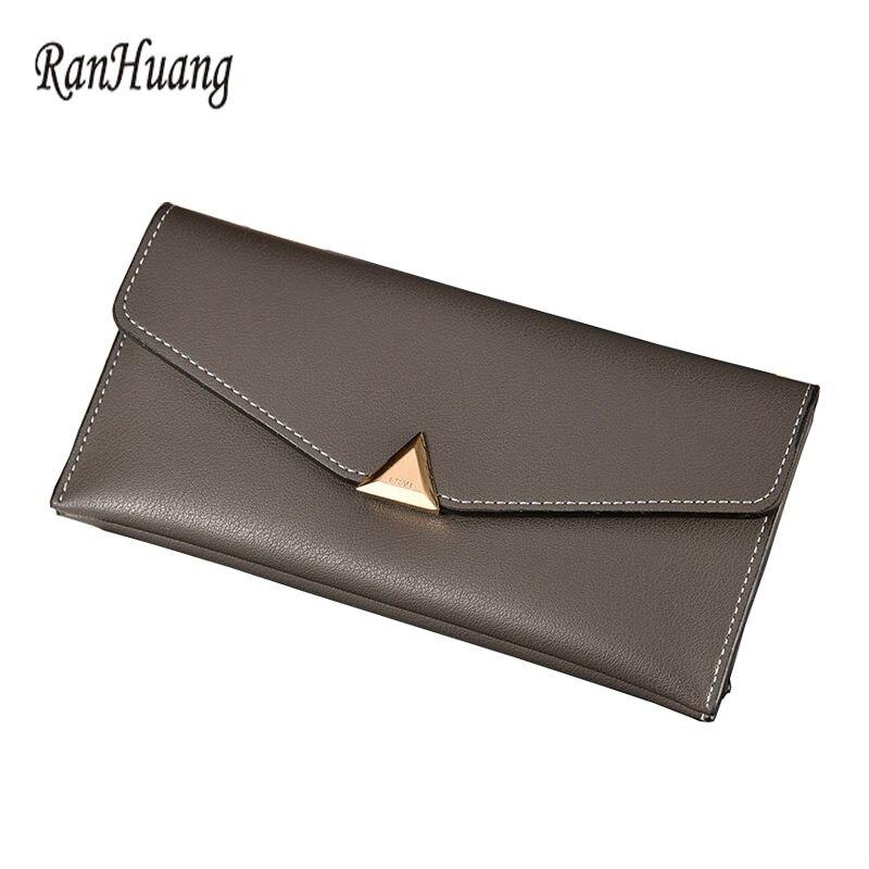 RanHuang 새로운 도착 2017 여성 패션 얇은 지갑 PU 가죽 롱 디자인 지갑 여성용 카드 지갑 캐주얼 지갑 porte monna