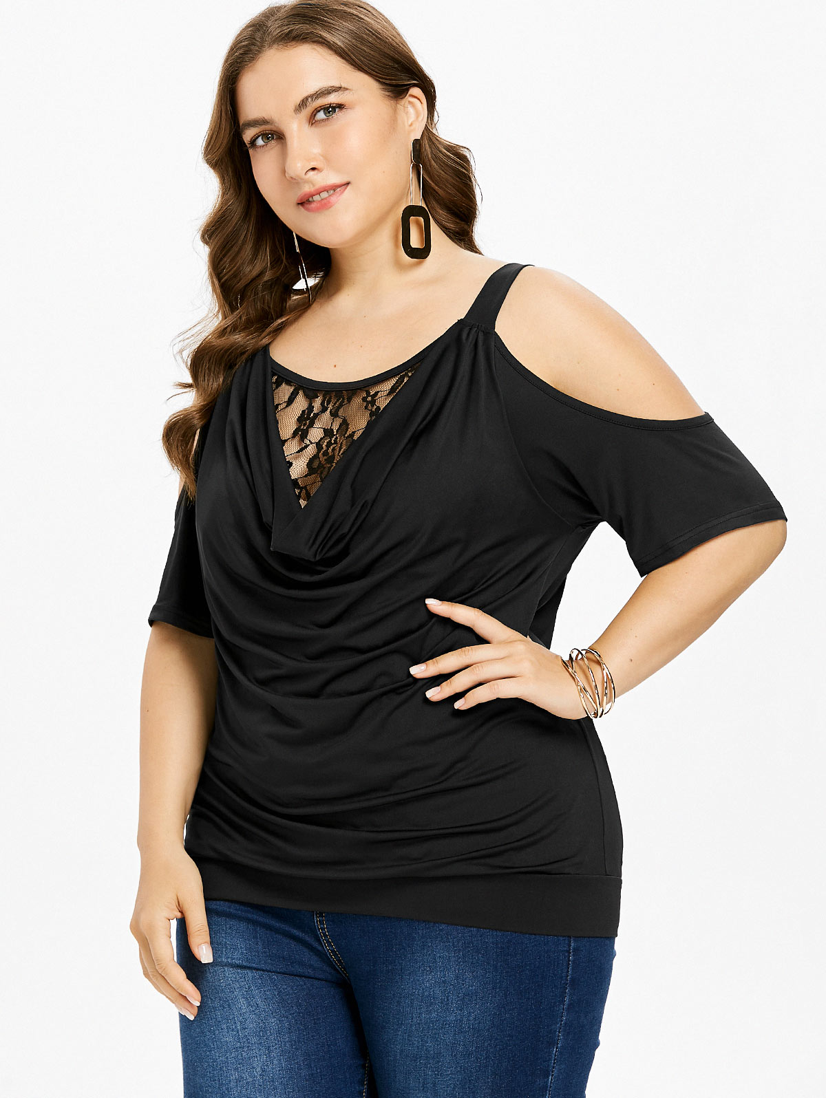 1b538cbee19ca Aliexpress.com   Buy Wipalo Plus Size 5XL Cold Shoulder Lace Insert Cowl  Neck Blouson T Shirt Women Summer Half Sleeves Fashion Tops Women Clothing  from ...