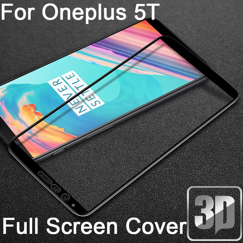9H 3D Tempered Glass LCD Curved Full screen protector Film guard coverage For Oneplus 5T A5010 One plus 5T Protective film