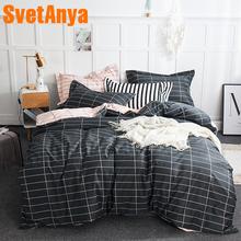 Svetanya Cotton Bedding Set (Sheet Pillowcase Duvet Cover) Line Plaid Printed Bedlinens Single Double Queen Full King size