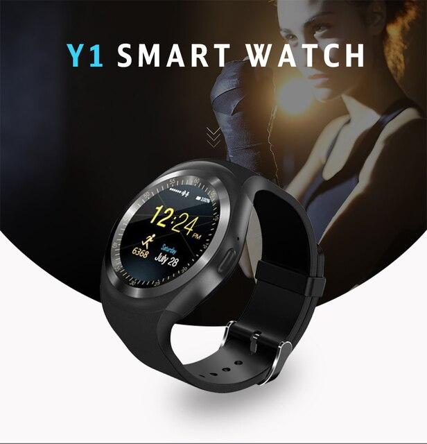 bajo precio 82a4e 03c59 Reloj inteligente Y1 reloj Digital para hombres Apple iPhone Samsung  Android Teléfono móvil Bluetooth SIM TF tarjeta Cámara