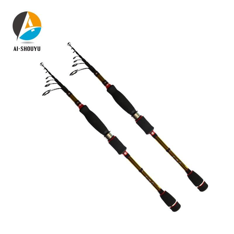 AI-SHOUYU Fiber de carbone 1.95 M 2.1 M 2.4 M 2.7 M multifonctionnel filature matériel de pêche canne à pêche Portable télescopique canne à pêche