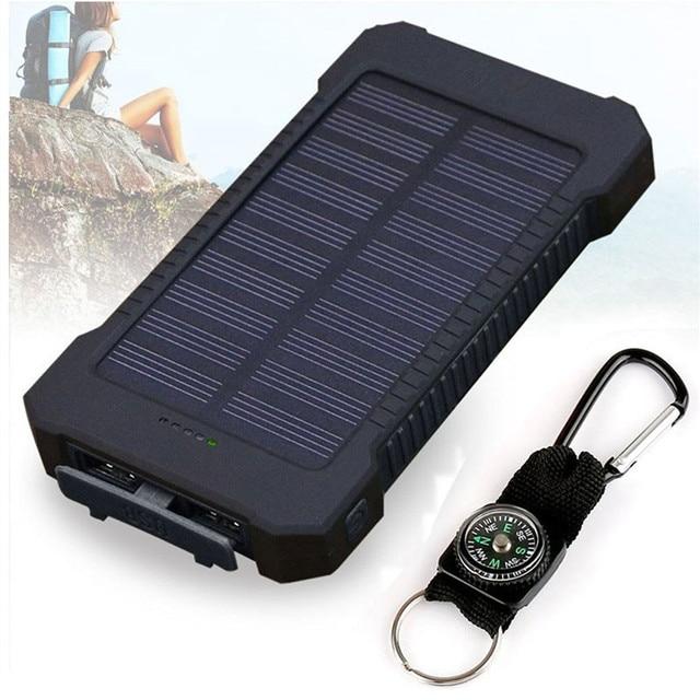 2019 nuevo portátil impermeable de energía Solar 30000 mah Dual-USB cargador de batería Solar externa para teléfono Universal cargador