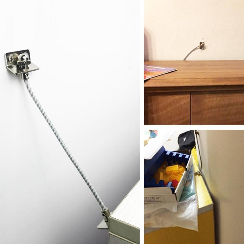 1 Set Anti Tip Furniture Anchors Safe Straps For Cabinets Bookcase Dresser