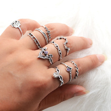 High Grade Bohemian Vintage Silver Color Hollow Carved Rhinestone Ring Set For Women Finger Jewelry 10pcs