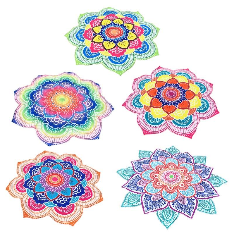 147*147cm Large Round Lotus Flower Printed Mandala Flower Beach Towel Shawl Throw Towels Tablecloth Hanging doormat