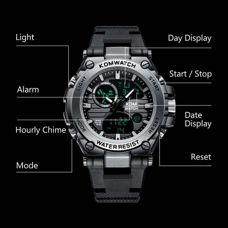 Relogio Masculino KDM Fashion Men Sport Watch 2019 Male LED Digital Quartz Wrist Watches Men 39 s Top Brand Luxury Digital Watches in Sports Watches from Watches
