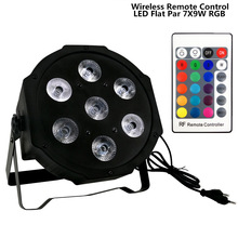 SHEHDS 4pcs/lot  Wireless remote control Disco DJ tri led par Flat SlimPar Tri 7x9w RGB Color Mixing DMX Light Uplighting