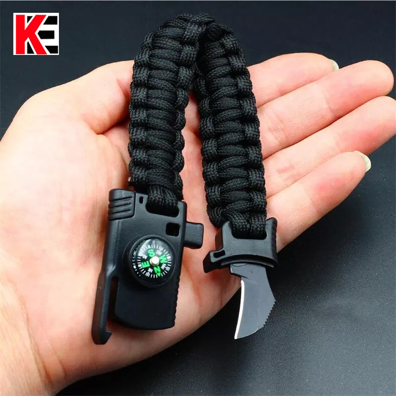 Outdoor Camping Multi-function Survival Bracelet with Knife Whistle Compass Hiking Travel Rescue Paracord Braided Wristband ToolOutdoor Camping Multi-function Survival Bracelet with Knife Whistle Compass Hiking Travel Rescue Paracord Braided Wristband Tool