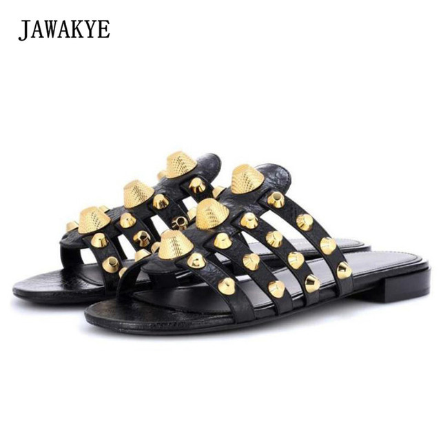a55b867eb1052 2017 Summer New female Slippers flat Korean fashion tide Rivets women shoes  Slippers Candy Flat Sandals zapatos mujer