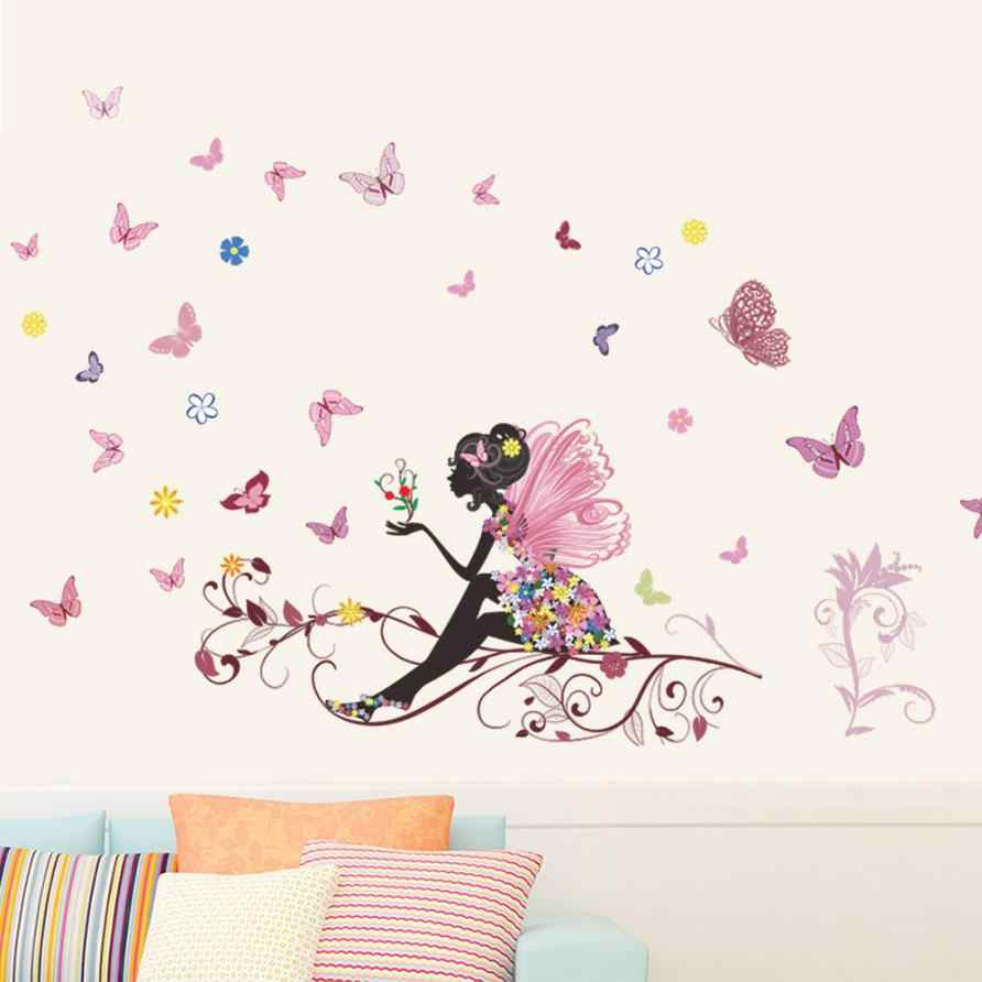 Butterfly Flower Fairy stickers for kids rooms girls decals DIY poster Living Room Wall Sticker Home Decor                  Aug9