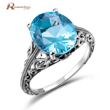 Classical Jewelry Princess Cut Moonlight Blue Crystal Wedding Ring 925 Silver Women Vintage Engagement Ring Fine Costume Jewelry