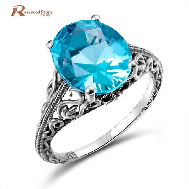 Joyería clásica princesa corte azul de luz de la luna cristal anillo de boda 925 Plata mujeres Vintage anillo de compromiso fino traje joyería
