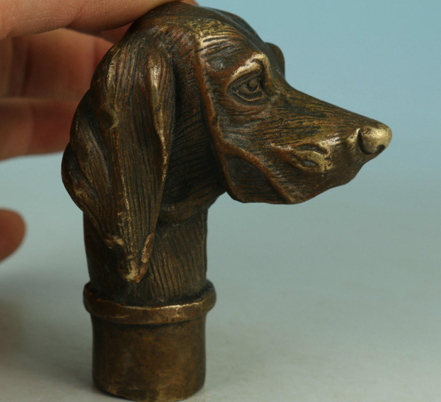 Ymying Fierce Chinese Old Bronze Hand Carved Dog Statue Walking Stick Head Collection