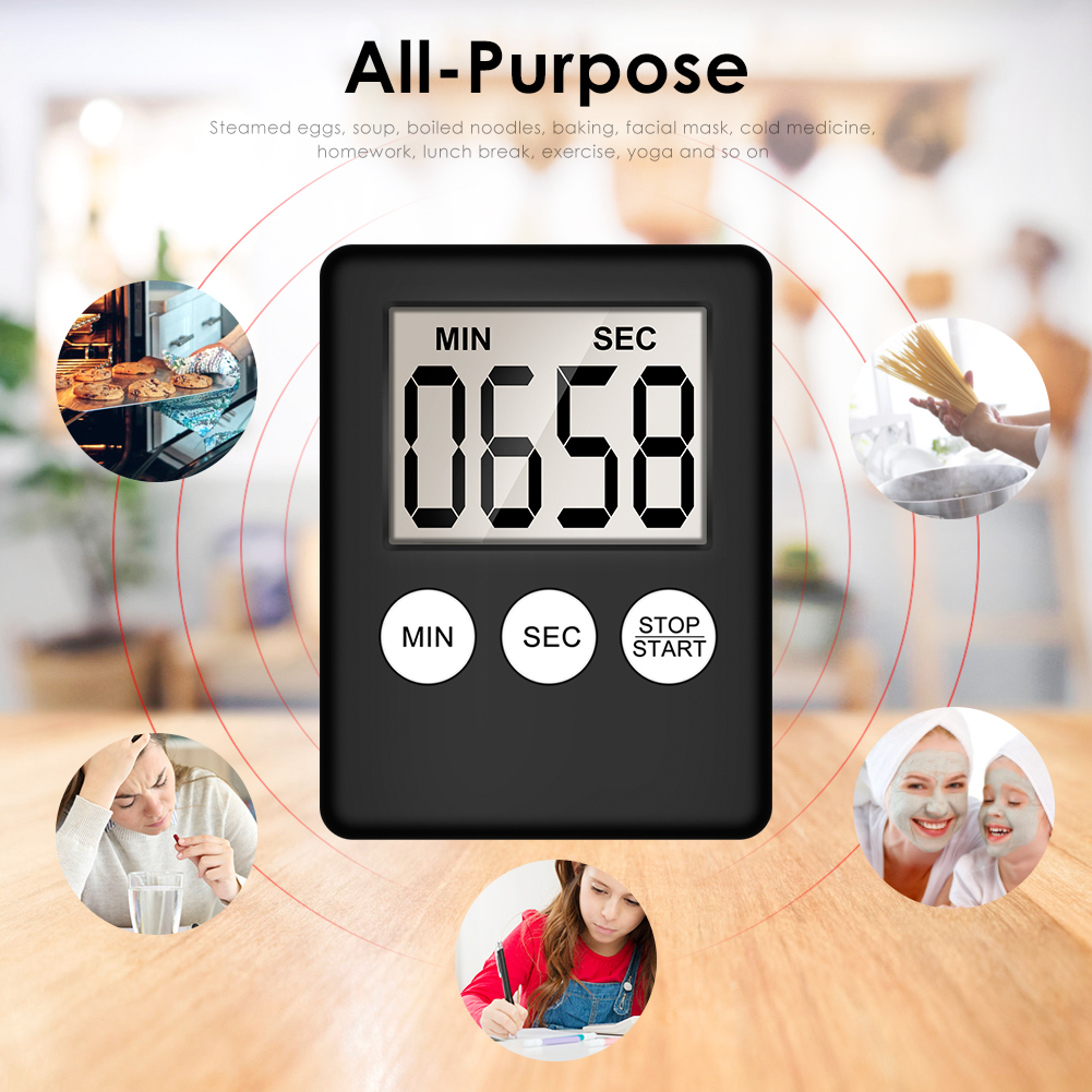 Super Thin LCD Digital Screen Kitchen Timer Square Cooking Count Up Countdown Alarm Sleep Stopwatch Temporizador Clock dropship(China)