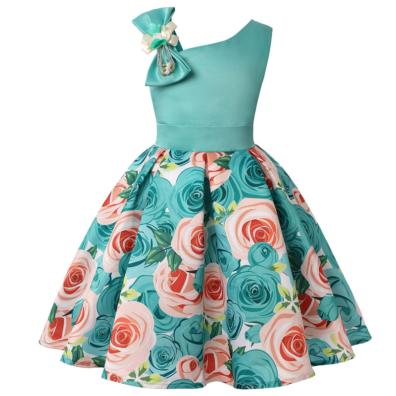 2019 new children's dress slant shoulder girl dress rose print dress dress party children's wear 2