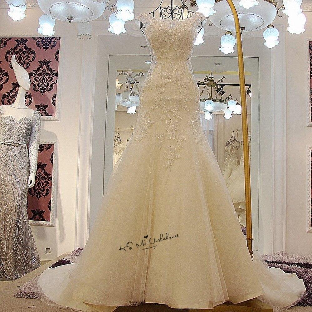Gelinlik Robe de Mariee Abito Da Sposa Vintage 2018 Del Merletto Della Sirena Sposa Abiti Bead Applique Scoop Plus Size Abiti Da Sposa Chiesa