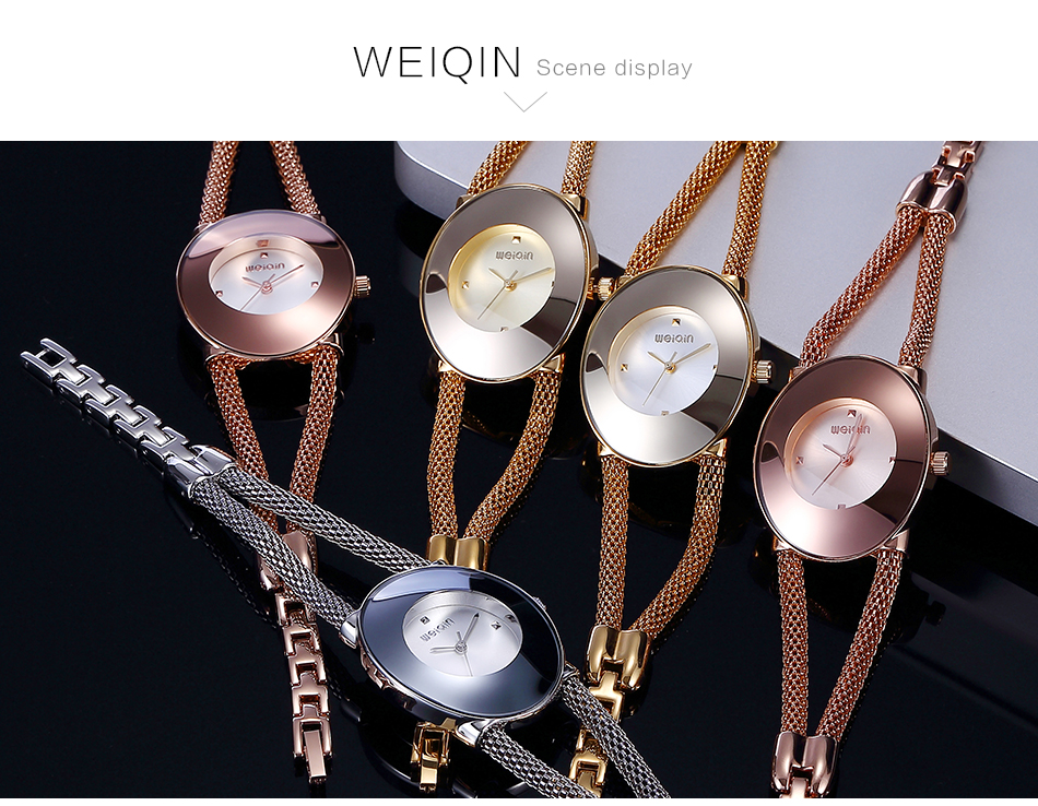 WEIQIN Creative Personality Oval Fashion Women Watche Bracelet Saat Luxury Gold Watch Women Montres Femmes Montre De Mode  XFCS 2016 new arrival mens women watches top brand quartz watch lvpai vente chaude de mode de luxe femmes montres femmes bracelet