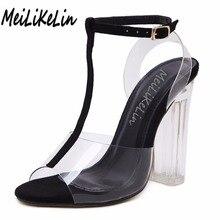MeiLiKeLin Women Sexy transparent sandals peep toe T-Strap high heels shoes woamn party wedding dress Crystal sandals 35-40