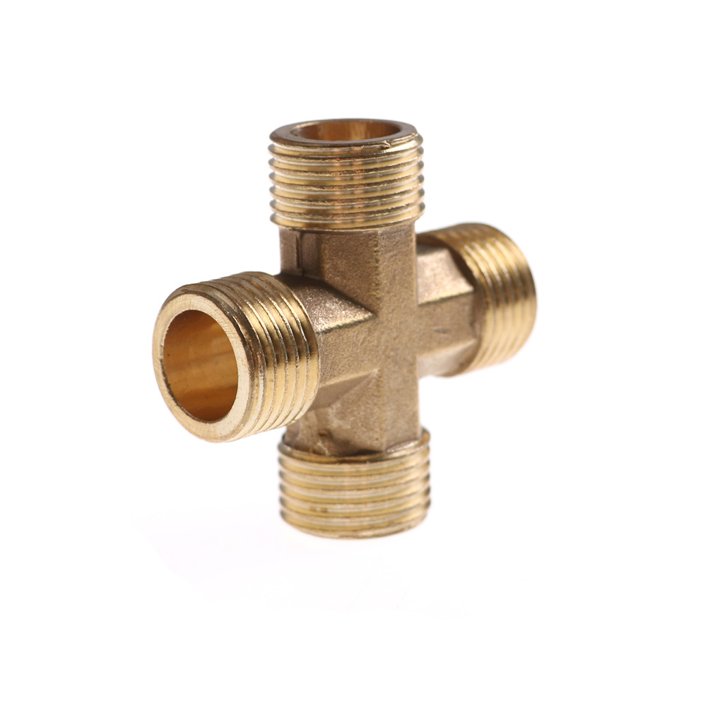 2 PC 1//4 Hose Barb 4 Way Cross Brass Pipe Fitting Thread Gas Fuel Water Air