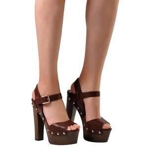 Image 3 - ורוד כפות ידיים נעלי סנדלי טריזי נעלי נשים גבוהה עקבים פיפ טו קרסול רצועת פלטפורמת סנדלי עם מסמרת zapatos mujer
