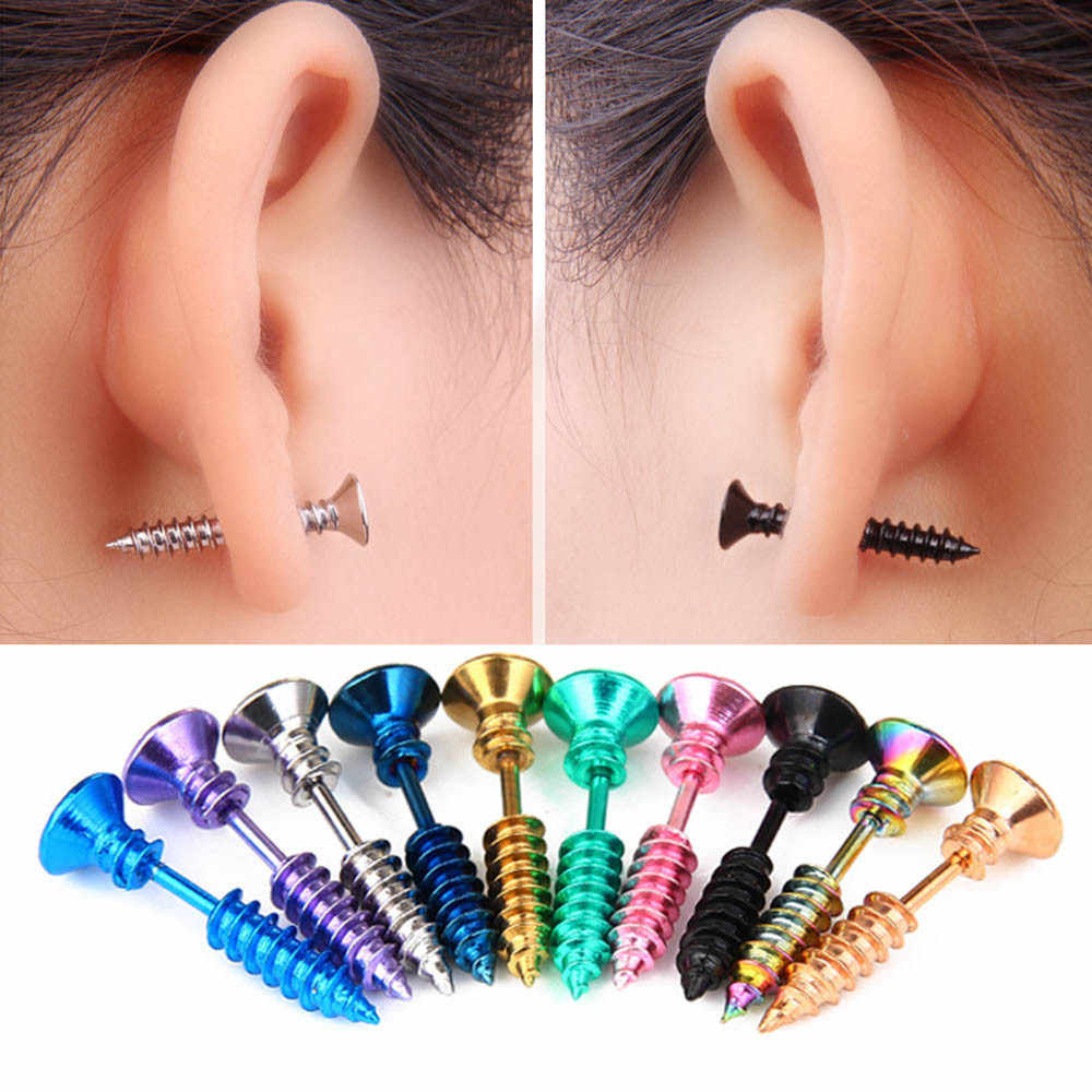 Fantasi Halloween Anting-Anting Prank Titanium Perhiasan Baja Screw Piercing Stainless Steel Anting-Anting Perhiasan Pendientes Oorbellen