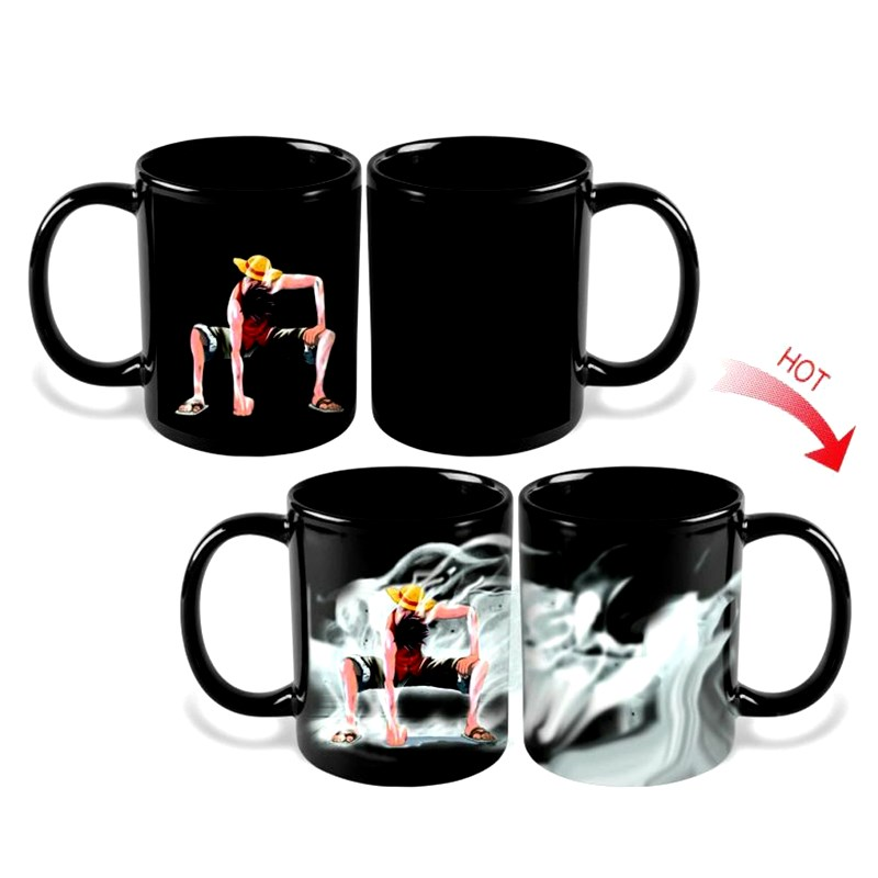 One Piece Monyet D Luffy Mug Cup Magic Kopi Seramik Cawan Hot Cold Heat Sensitive Color-Changing for friend Gift
