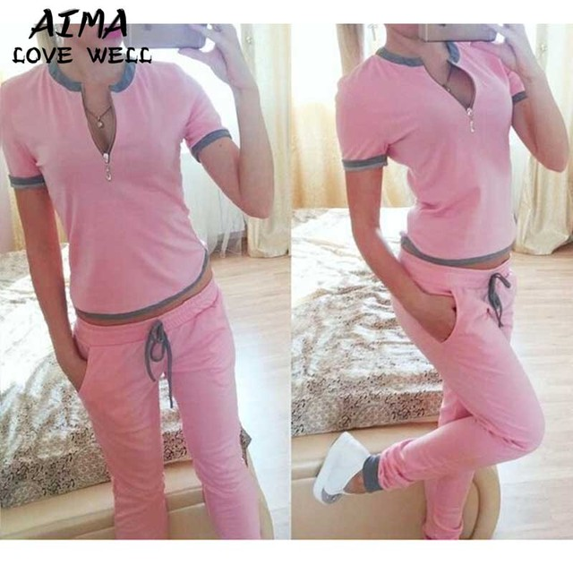2017 Spring And Summer New Fashion Women's Sets Tops Trousers Short Sleeve v Collar Slim Casual Belt 3 Colors