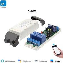 Поддержка Google home Wi-Fi 2 канальный переключатель толчковой selflock модуль Wi-Fi ewelink пульт дистанционного управления переключатель