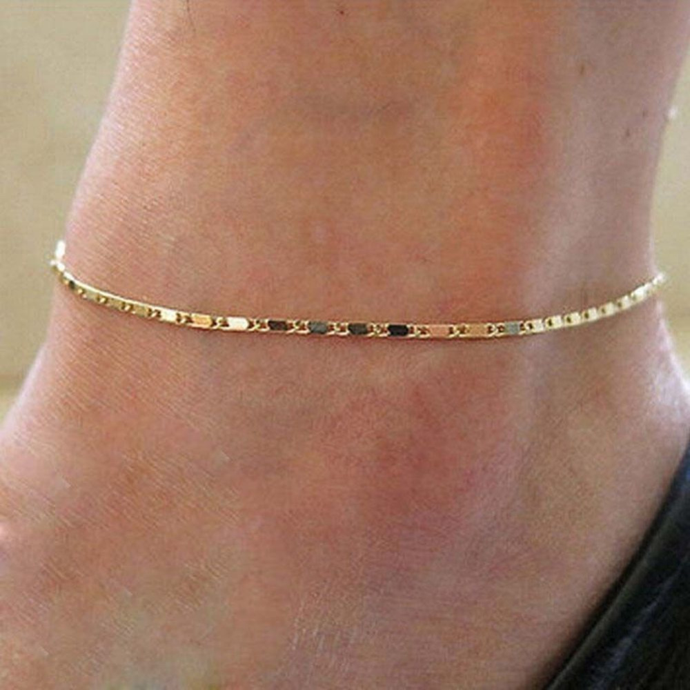 Fashion Simple Women Gold Color Chain Anklet Ankle Bracelet Barefoot Sandal Beach Foot Jewelry 2017 Summer New Hot