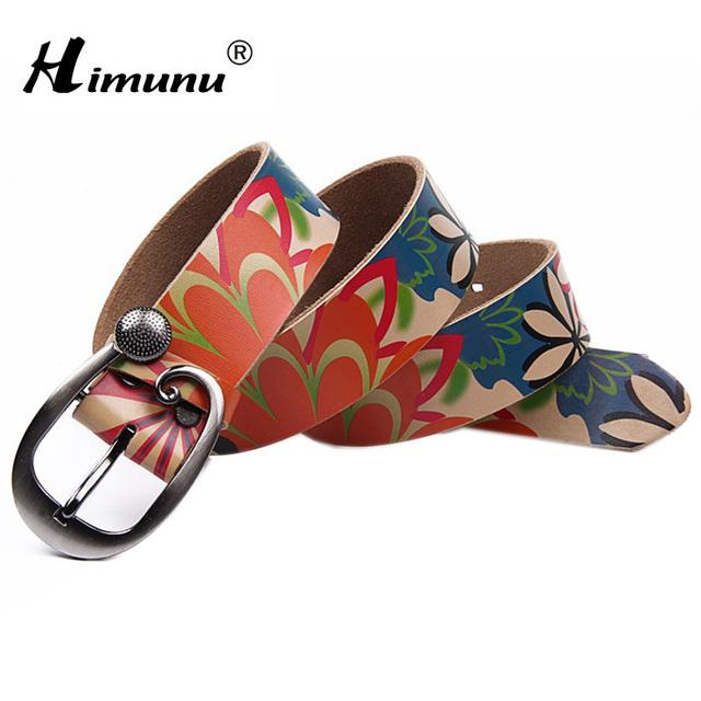 [Himunu] cinturón de moda cinturones de cuero genuino de la mujer bastante floral para mujer vaqueros nueva amplia cinturones femeninos de alta calidad piel de vaca faja