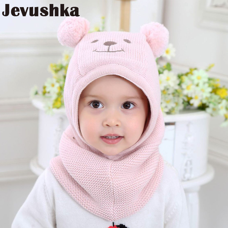 купить Winter Warm Knit Baby Girls and Boys Pompom Hat with Warm Fleece Lining Cute Bear Ears Hats for Kids Beanie Gorro по цене 807.81 рублей