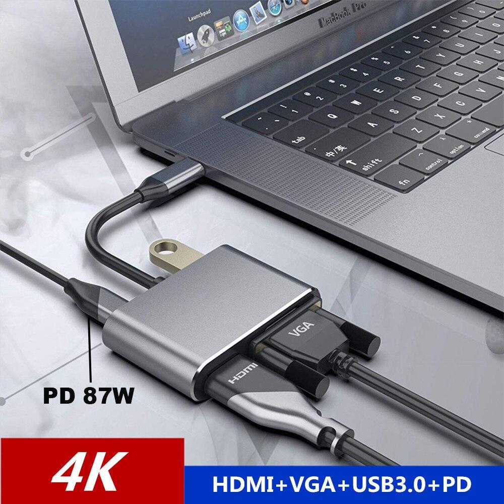 4 em 1 usb c tipo c para hdmi 4 k vga usb3.0 adaptador de áudio e vídeo com pd 60 w carregador rápido para macbook pro samsung s9 s10 huawei