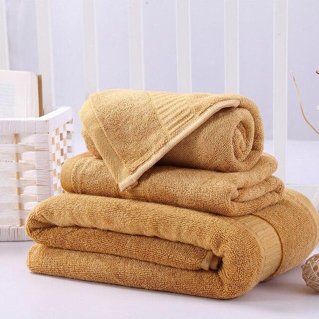 3 Piece Plush Bamboo Cotton Towel Set 1pc Bath Towel 70140cm