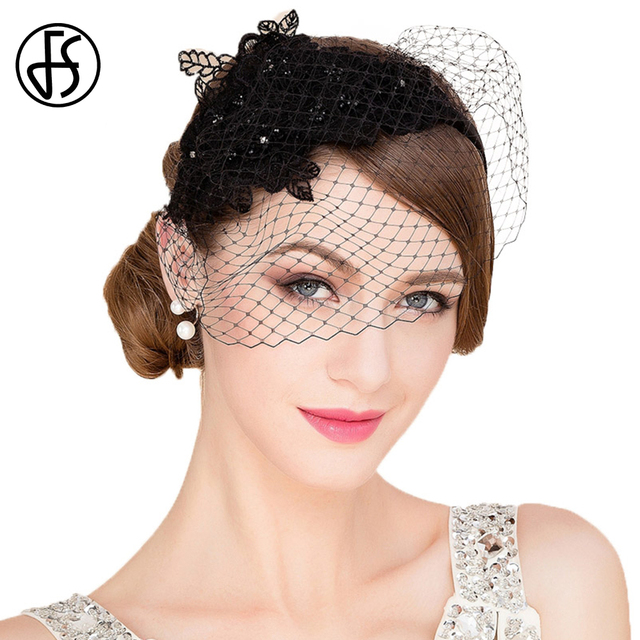 b6269253c2c FS Church Dresses Hats For Women Elegant With Veil Banquet Ladies Vintage  Fascinators Wedding Pillbox Hat Black Whiter Royal Cap