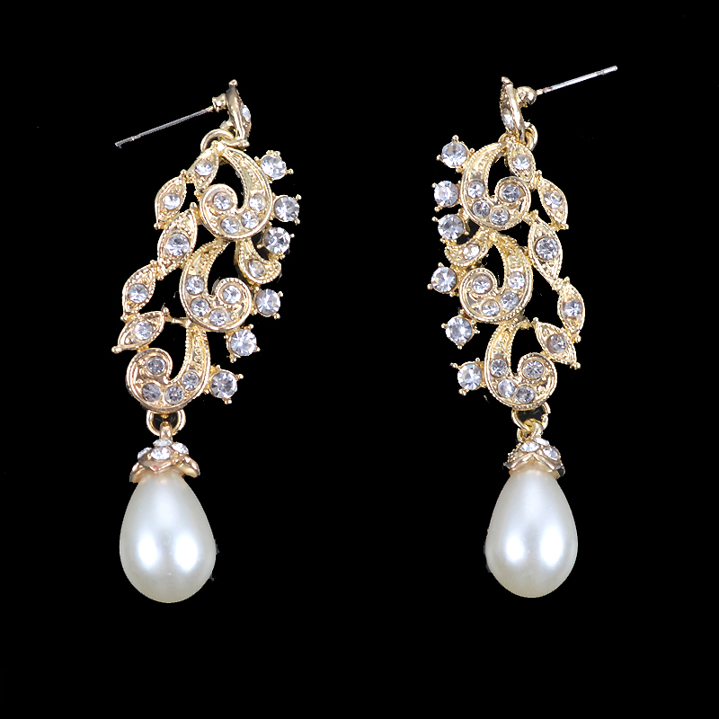 Gold Metal Plated necklace earrings Bridal Wedding jewelry sets Women Party crystal pearl fashion dress earrings set accessories 13