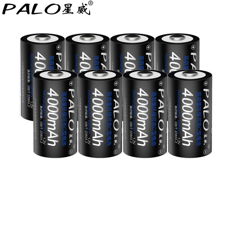 PALO 1.2v NI-MH <font><b>C</b></font> <font><b>Size</b></font> 8*4000mAh Rechargeable <font><b>Batteries</b></font> For Gas Cooker Radio Refrigerator Replacement <font><b>Battery</b></font> pilas <font><b>recargables</b></font>