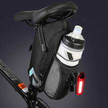 24×9.5x9cm Bicycle Saddle Bag With Water Bottle Pocket MTB Road Bike Cycling Rear Bags Seat Tail Bag With Reflective Strip