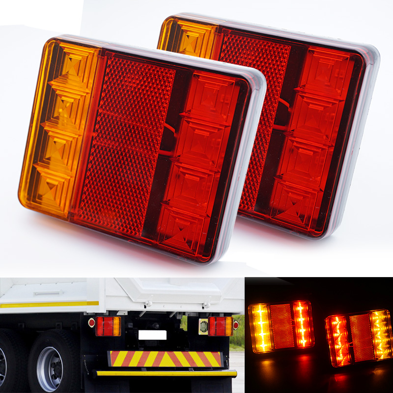 2x 12V Car Truck LED Tail Warning Lights Waterproof Rear Lamp Tailight for Trailer