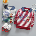 2017 Spring Casual Baby Infant boys Cotton bear Letter stripes Long Sleeve Turn-down Collar T-shirt Tops S4696