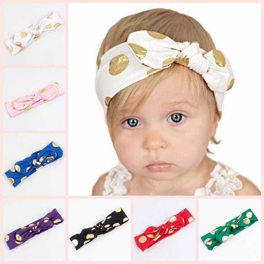Vintage Baby Golden Dot Utskrift Knut Elasticitet Headband Girls Kanin Öron Headwear Hairband Kids Hair Accessories