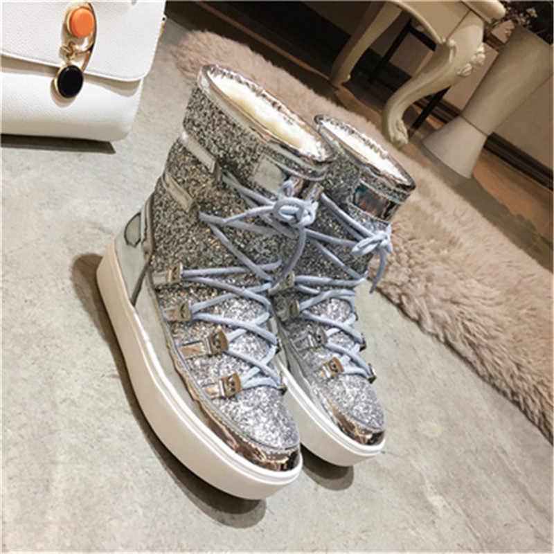 ... Bling Glitters Warm Fur Snow Boots 2019 Bottines Femmes Eyes Designer  Women Flats Winter Shoes Lace ... 849ab07485a1
