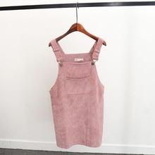 Summer Women Elegant Pocket Strap Corduroy Dress Veloit Sleeveless Cute Casual Overalls Dresses Female Vestidos Femininos