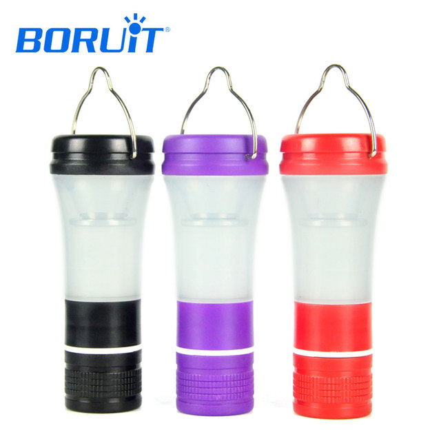 BORUiT 3 Modes LED Portable Lantern Hanging Camping 3W Tent Light Hiking Emergency Lighting Torch Multifunction Flash Flashlight