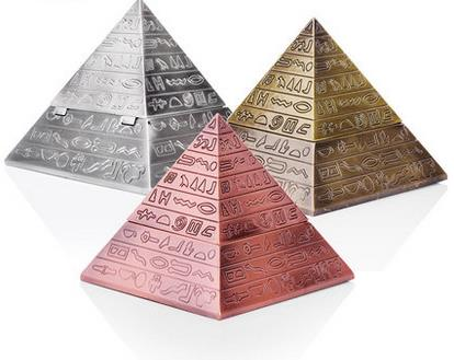 Household Merchandises Ashtrays Tin alloy vintage engraving clamshell pyramid ashtray free shipping